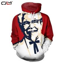 CJLM 2018 Moda Primavera Homens Hoodies 3d KFC Impresso Gráfico O pescoço Casaco de Moletom Casual Longo luva Bordada com Capuz Sudaderas Hombre
