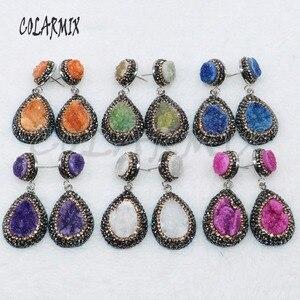 Image 1 - 5 Pairs geode druzy oorbellen drop shape oorbellen sieraden oorbellen mix kleuren groothandel sieraden 4881