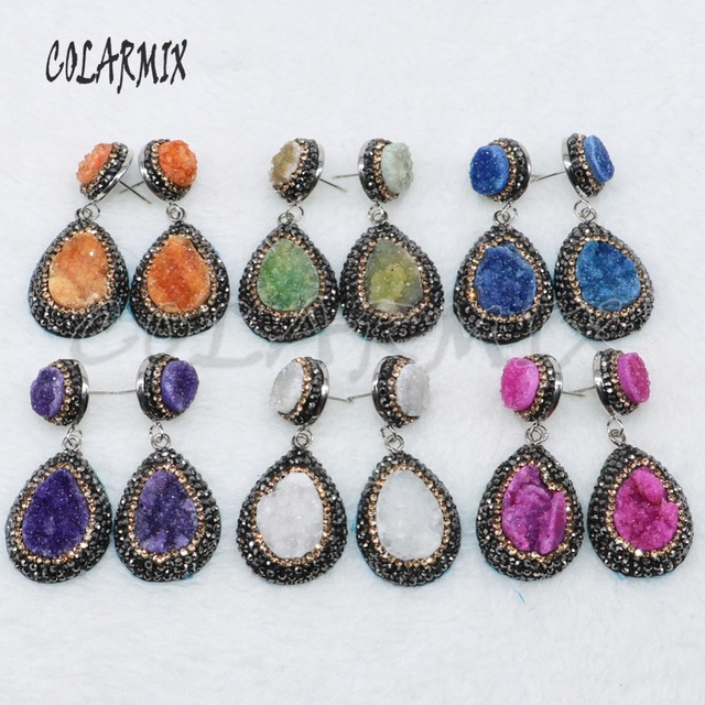 5 Pairs geode druzy oorbellen drop shape oorbellen sieraden oorbellen mix kleuren groothandel sieraden 4881