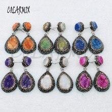 Boucles doreilles geode druzy, 5 paires, bijoux en forme de goutte, boucles doreilles de couleurs mélangées, vente en gros, 4881