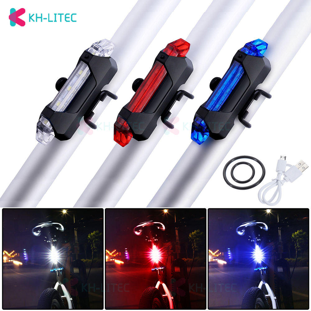 KHLITEC Bike Bicycle Tail Light USB Rechargeable 5LED Taillight Rear Tail Safety Warning Cycling Back Light Portable Flash Light
