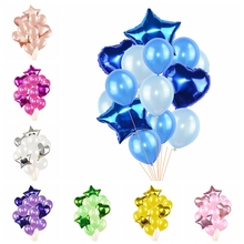 14pcs/set Multicolor Mixed 12inch Latex Balloon with 18inch Star Heart Foil for Wedding Party Home Air Ball Decoration 8