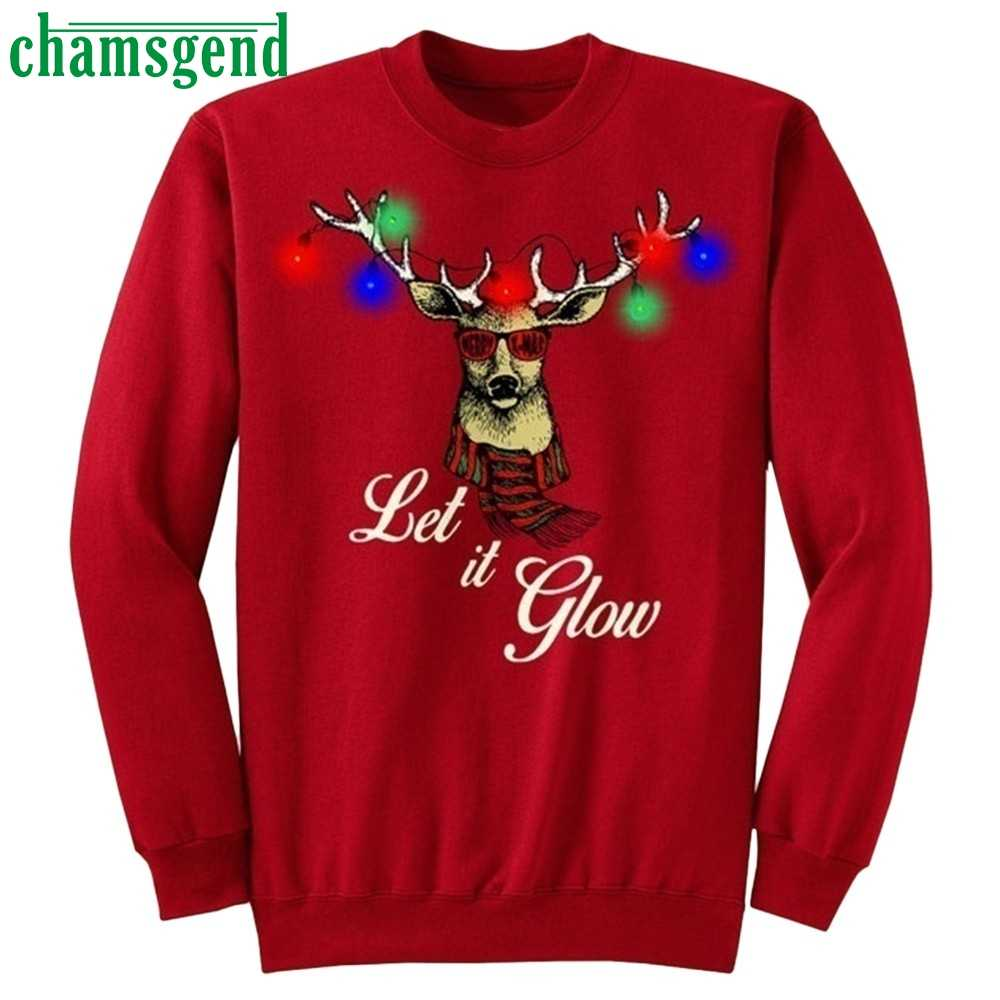 Chamsgend 2019 Christmas Couples Funny Blouse Women Long Sleeve Shirt Tops fashion  Xmas Print Female Men Autumn Winter hoody#40
