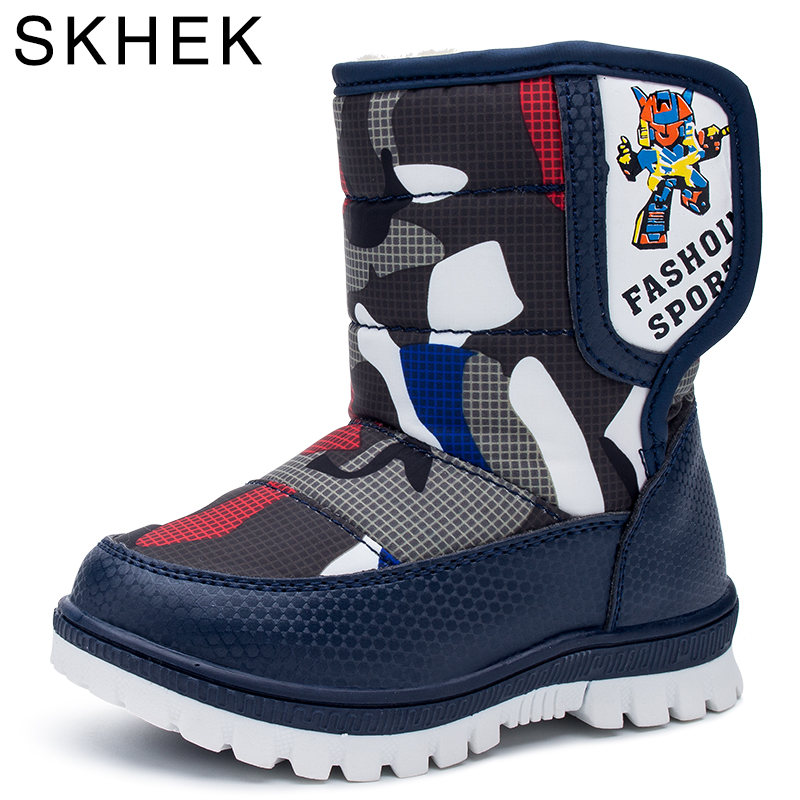 Skhek  Kids Shoes For Girl  Boys Winter Leather Boots Baby Kids Shoes For Girl Boys Children Shoe Rubber Boots Flat With C17338