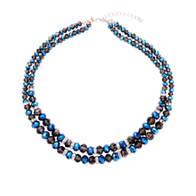 2 Layers Glass Beads Strand Necklace for Women 2017 Fashion Brand Jewelry Blue Maxi Statement Necklace