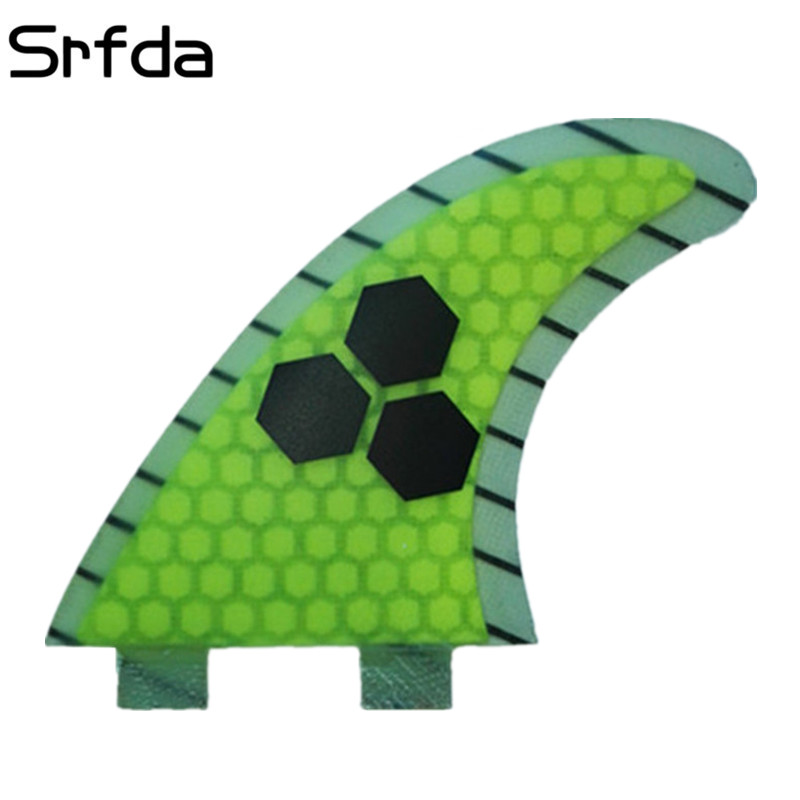 three-set size-m 2pcs/set Size-k2.1 Limpid In Sight Srfda Surf Fins Surfboard Fins With Fiberglass Honey Comb Material Fot Surfing