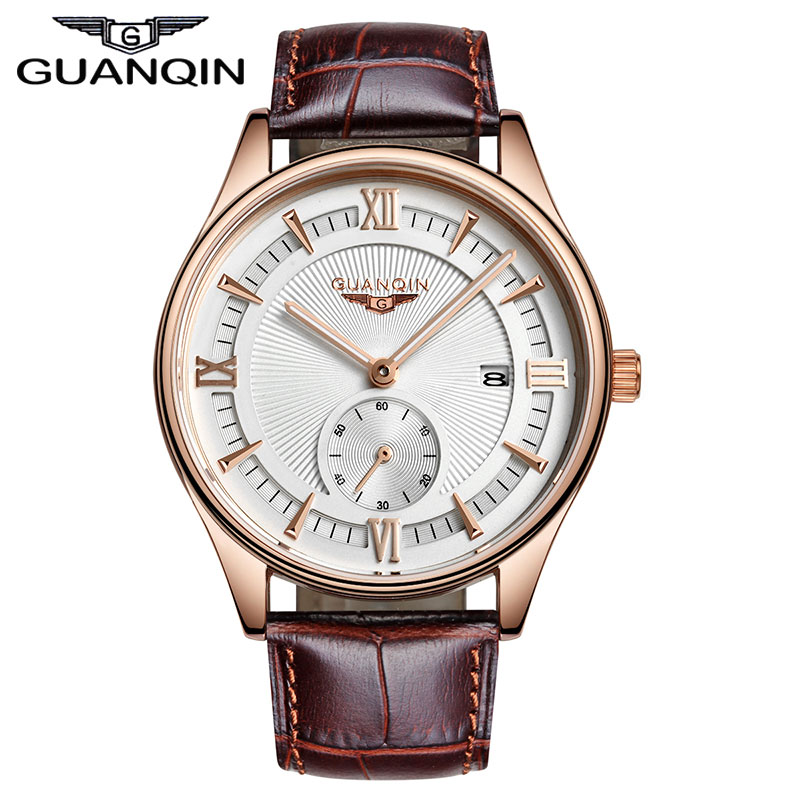 ФОТО 2015 New Fashion Stylish Watches Men Luxury Brand GUANQIN Men Wristwatches Quartz Watches Gold Black Watches