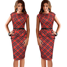 2016 New Womens Vintage Elegant Belted Tartan Peplum Ruched Tunic Work Party Sleeveless Bodycon Sheath Dress