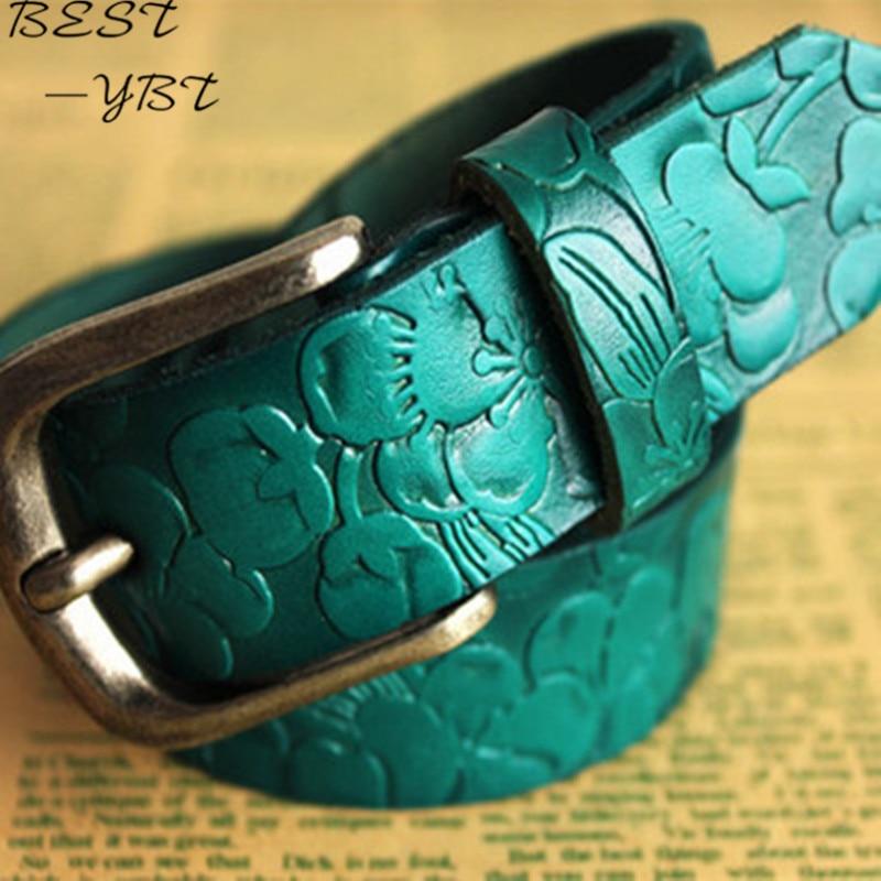 Hot Sale! Belts For Women Leather New Elegant  Stylish Retro Embossed Metal Buckle Straps  Female Ornaments Ceinture Femme