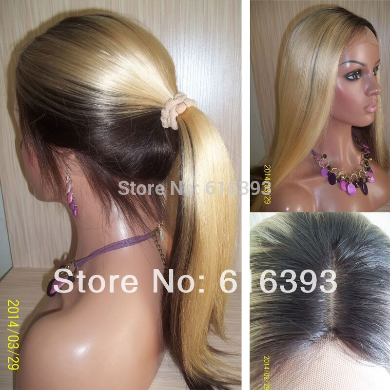 New Half Color Wigs 2t22 Silk Top Full Lace Wig Silky Straight 100