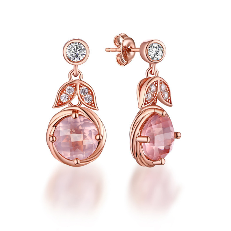 ANI 925 Sterling Silver Women Drop Earrings Natural Rose Quartz Color Gemstone Jewelry Engagement Dangle Earrings for Birthday pair of sweet candy color gemstone embellished earrings for women