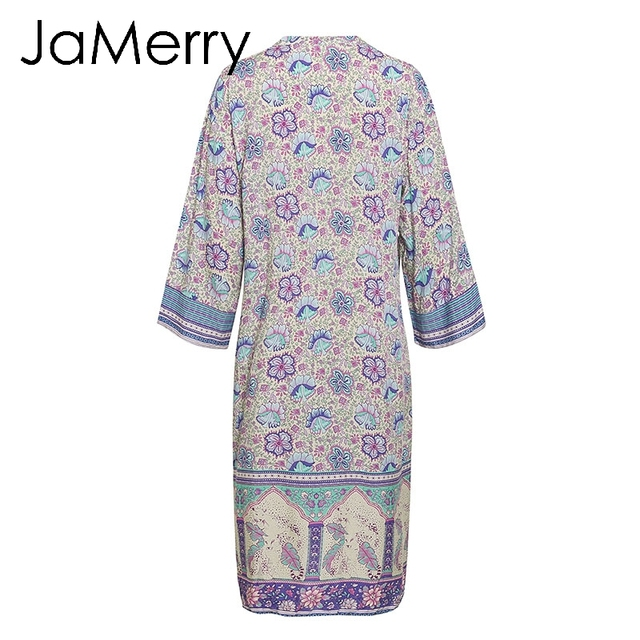 cf7b7ba00ed26 JaMerry Boho floral print cover ups women Summer spring purple long beach  kimono cardigan Holiday female cotton blouse 2019