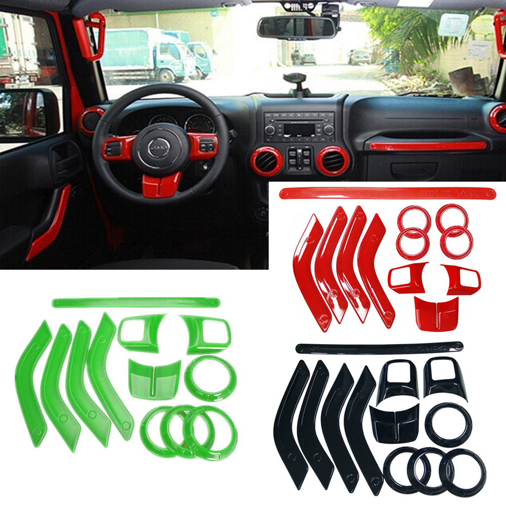 Chuang Qian ABS Chrome Steering Wheel Trim Air Condition Vent Interior Accessories Door Handle Cover Kits For Jeep Wrangler JK