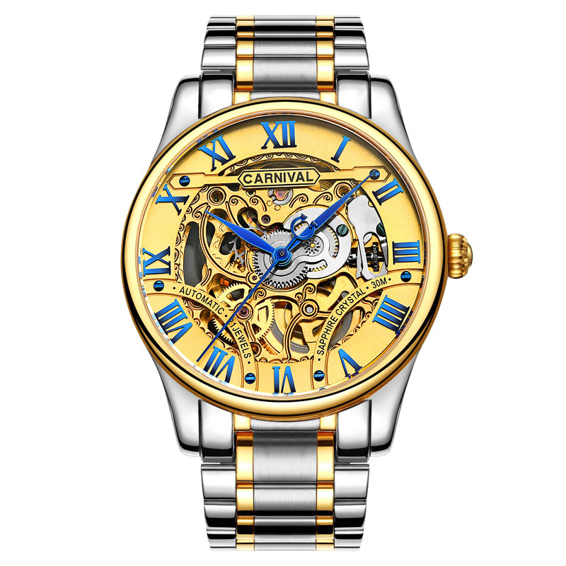 Carnival Top Brand Luxury Men Watches Automatic Mechanical Watches Hollow Leather Steel Waterproof Male Clock relogio masculino fashion watches men top brand automatic mechanical wristwatch leather band waterproof luminous male clock relogio masculino 46