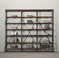 Retro do the old wrought iron wood loft Stands French country US shelves multi-compartment floor display racks