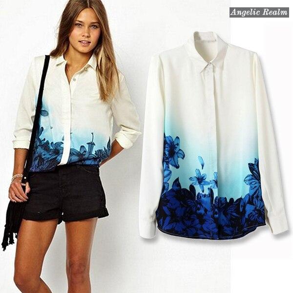 f3b230d5b6497b 2014 new Girls Sweet Blue Floral Pattern Turn down Collar Chiffon summer  Blouse Ladies Casual Shirts fashion women blouse