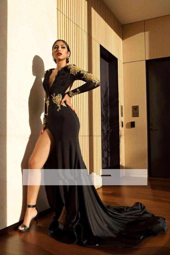 926ef59057db Black 2019 Prom Dresses Mermaid Long Sleeves Lace Beaded Slit Sexy Party  Maxys Long Prom Gown