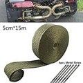 5 см * 15 М Автоматическая выхлопная теплоизоляционная лента с 6 металлическими полосками для автомобиля мотоцикла универсальные автомобиль...