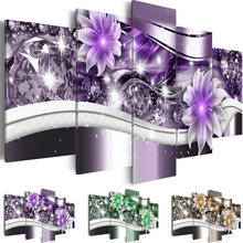 HD Wall Art Prints 5 Set Beautiful Elegant Flower Canvas Painting Modular Pictures Frame Poster Home Wedding Decoration Decor(China)