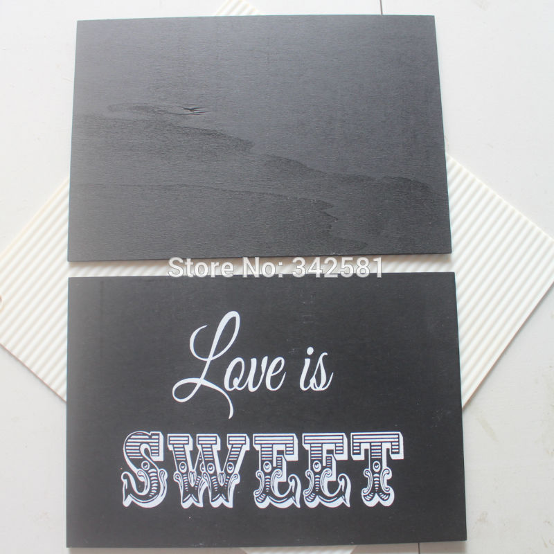 Vintage Black Wood Rectangle Home School Wall Chalkboard Hard Board Decor Diy Rustic Wedding Party Decoration Size 22cmx15cm In Decorations From