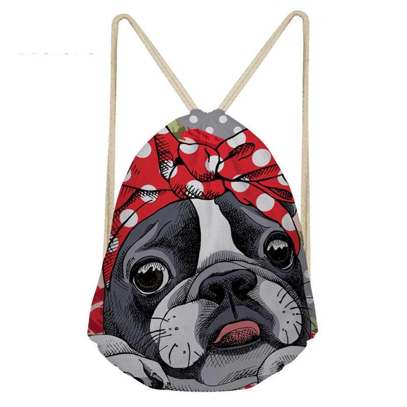 THINK Boston Terrier Backpacks For Teenagers School Shoulder Bag Custom Women Men Drawstring Bags Backpack Travel Storage Pouch