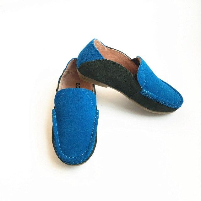 Piel auténtico mocasines niños, zapatos casuales.