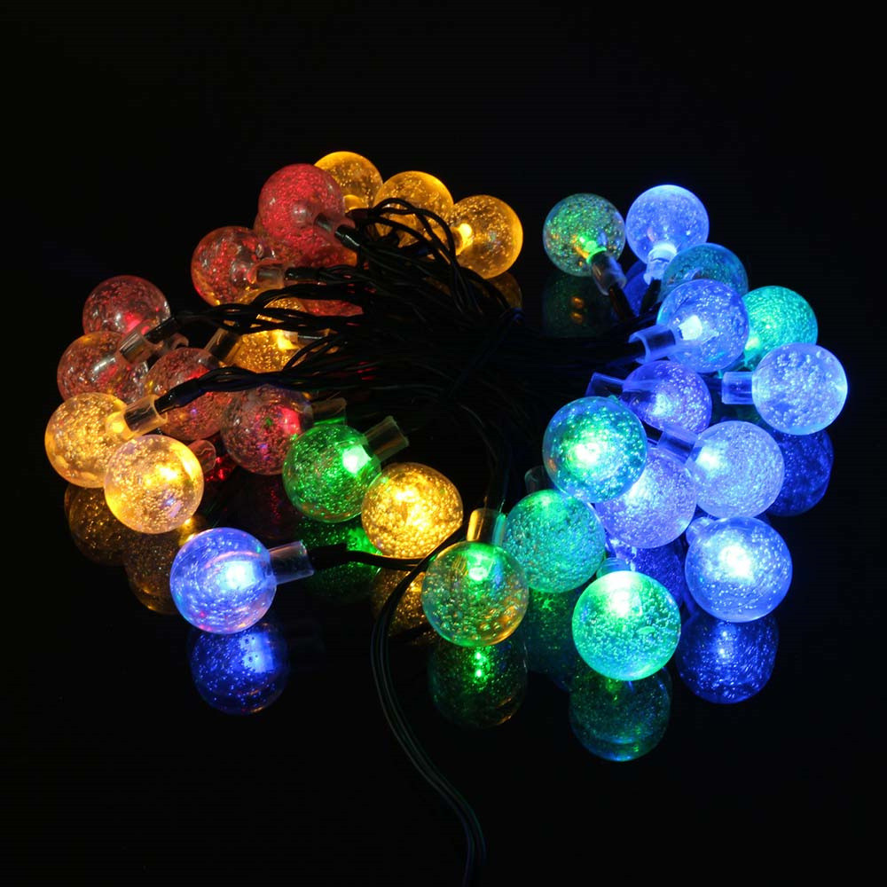 christmas led string lights Solar Powered Crystal Ball Lamp Xmas Tree Hanging Wedding Valentines Fairy Light Curtain Decor