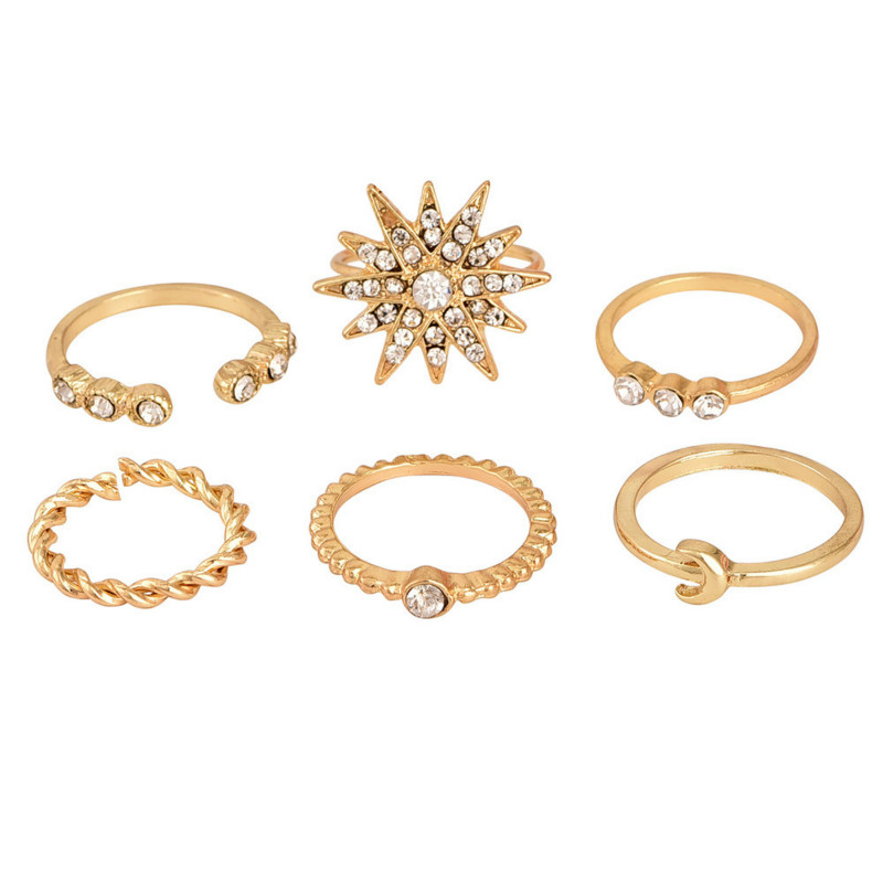 6PCS 2019 new popular personality gold stars moon ring set party ring punk jewelry wholesale in Rings from Jewelry Accessories