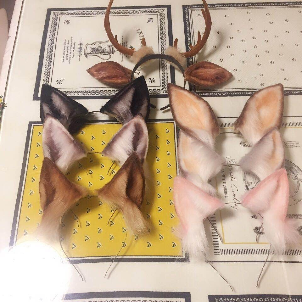 New animal Cosplay Carnaval Gothic Lolita Acessories cat Fox Ear Hair Hoop Headwear For Girl Women Kids Hand Work