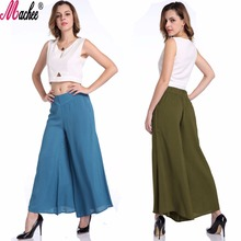 2017 New Summer Big Size Solid Ladies Dress Pants Vintage Loose Middle Waist Long Trousers Cotton Casual Women Wide Leg Pants