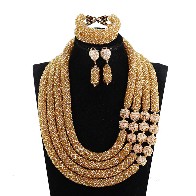 Luxury 23 inches Crystal Bridal Statement Necklace Set 4 Layers Champagne Gold Nigerian Wedding African Beads Jewelry SetsABH712Luxury 23 inches Crystal Bridal Statement Necklace Set 4 Layers Champagne Gold Nigerian Wedding African Beads Jewelry SetsABH712