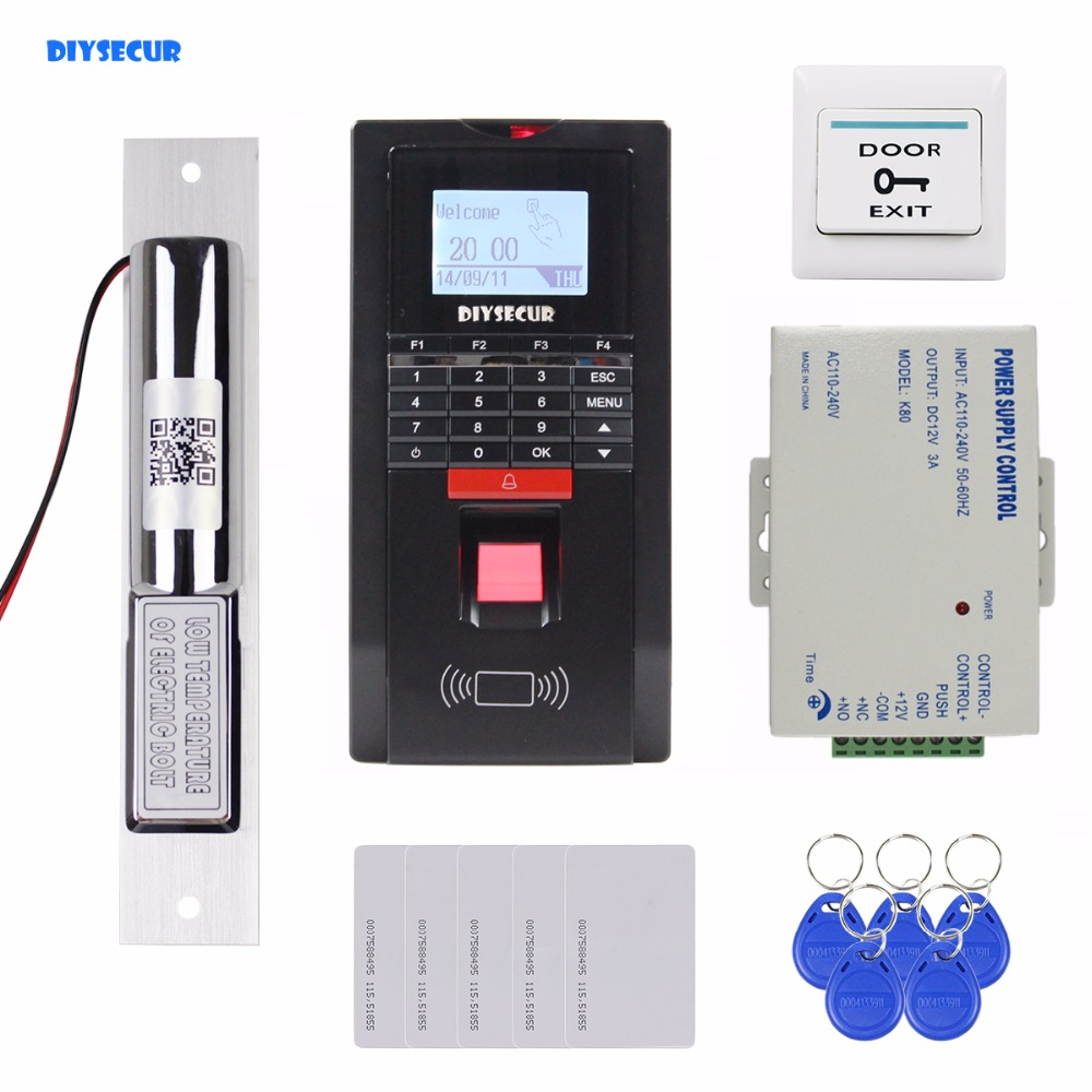 DIYSECUR Fingerprint Id Card Password Keypad Door Access Control System Kit + Electric Bolt Lock for Office / House