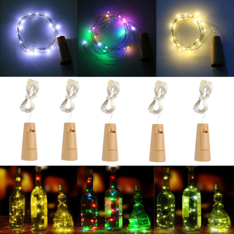 oobest 1x Win1x Wine Bottle Stopper Glass Night String lights for Wedding Home Indoor Decor Artware Fancy Fairy Lights 2M 20 LED