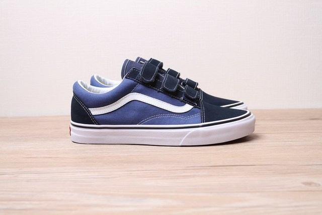 Authentic VANS Old Skool V Velcro Series Men/Women classic Black and white plaid Sports Skateboard Shoes Size 36-44