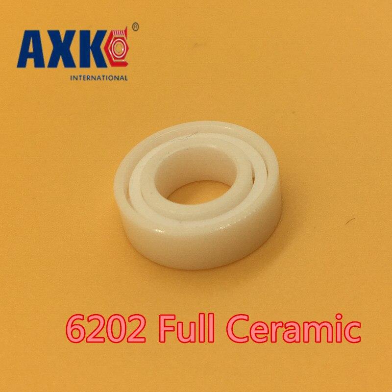 все цены на 2018 Rolamentos Rodamientos Axk 6202 Full Ceramic Bearing ( 1 Pc ) 15*35*11 Mm Zro2 Material 6202ce All Zirconia Ball Bearings