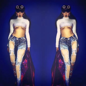 Women's New 3D Printed Jeans Shining Rhinestones Sexy Jumpsuit Celebrate Stretch Leggings Outfit Female Singer Dance Bodysuit