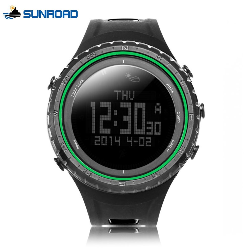 SUNROAD Mens Sport Watch Digital Waterproof Altimeter Compass Watches Fishing Barometer Clock Orange Wristwatch Men Backlit