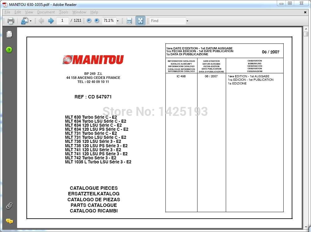 Manitou Forklift Parts catalogs, service manuals and operator's manuals