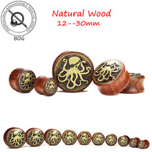 BOG-Banyak 10 Pairs-Kayu Alami Dengan Octopus Logo Ear Plugs Tunnel Earlet Expander Tandu Taper Piercing Tubuh perhiasan(China)