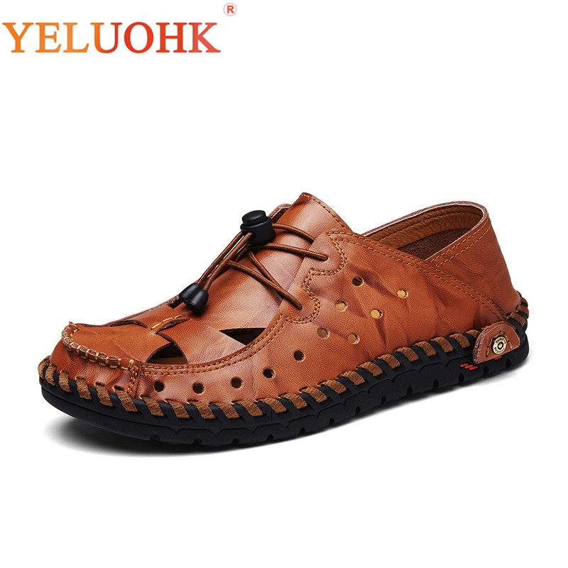 Soft Leather Sandals Men Comfortable Summer Shoes Handmade Men Sandals