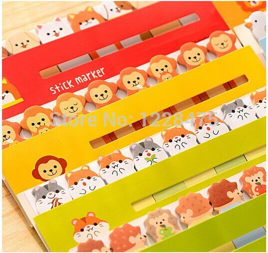 1pcs/lot NEW cartoon animals ht1408-659 sticky notepad Memo pad message post marker Removable adhesive paper