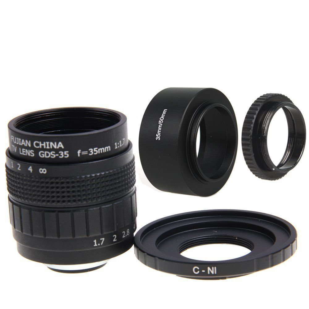 Fujian 35mm F1.7 CCTV Movie lens +C Mount +Lens Hood for Nikon AW1, S2, J4, V3, J3, V2, J2, S1, J1, V1,N1 image
