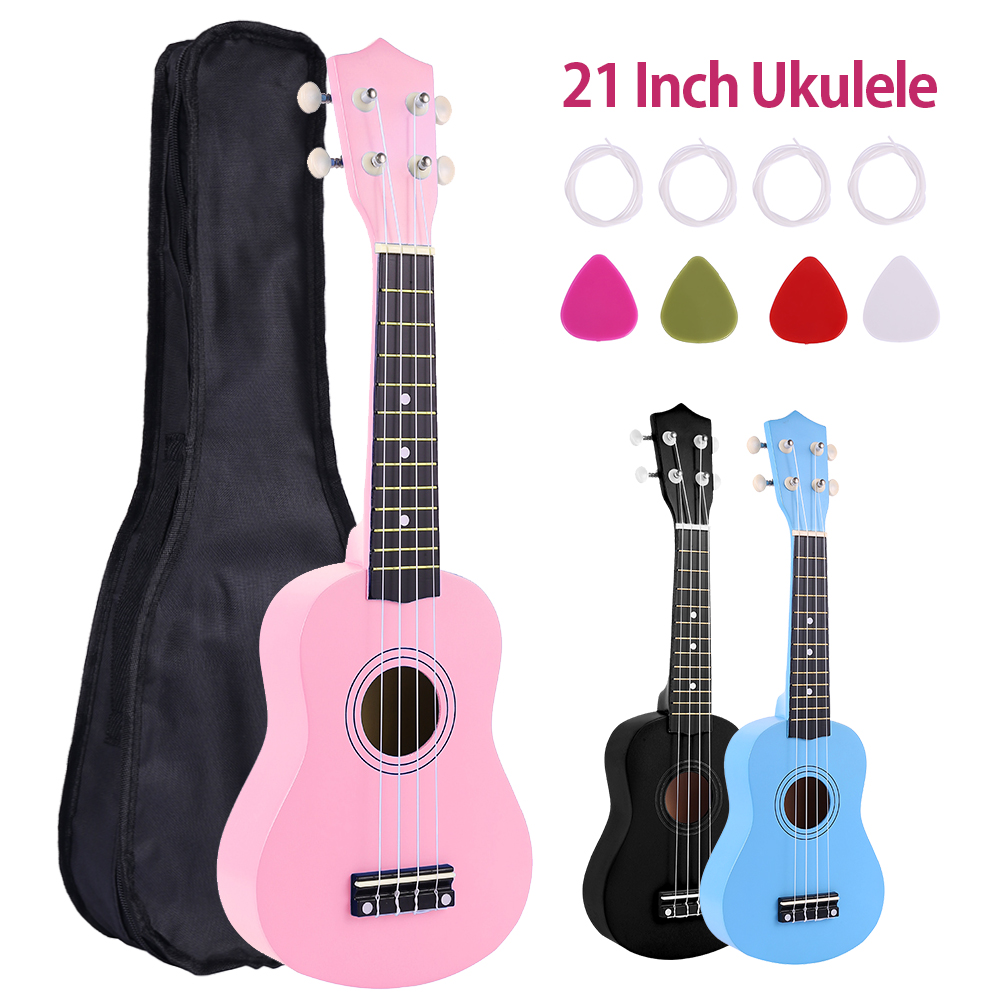 21 Inch Wooden Ukulele Black Soprano 4 Strings Uke Hawaii Bass Stringed Musical Instrument Set For Kids And Music Beginner
