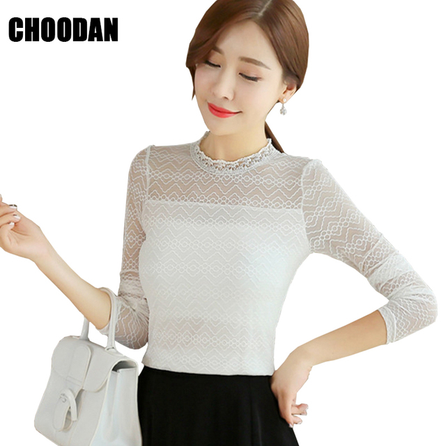 f9b1bc7ae26e Women Lace Blouse Long Sleeve 2018 New Spring Summer Korean Fashion Mesh  Patchwork Feminine Blouses Basic Shirt Female Clothing
