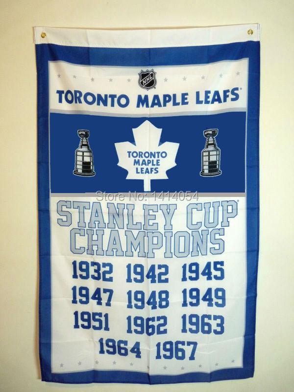 <font><b>Toronto</b></font> <font><b>Maple</b></font> <font><b>Leafs</b></font> <font><b>Stanley</b></font> <font><b>Cup</b></font> <font><b>Champions</b></font> <font><b>Flag</b></font> 150X90CM NHL 3X5FT Banner 100D Polyester <font><b>flag</b></font> grommets 009, free shipping