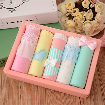 5pcs/lot Lace Bow-Knot Cotton Teens Panties 1
