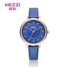 KEZZI новый дизайн бренда дамы Часы Для женщин Элегантный Кристалл кварцевые часы кожаный Водонепроницаемый Наручные часы для женщин Montre Femme