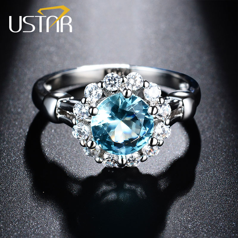 USTAR NIEUW Blue Cubic Zirconia trouwringen voor vrouwen wit goud Oostenrijk Crystal verlovingsringen vrouwelijke anel topkwaliteit