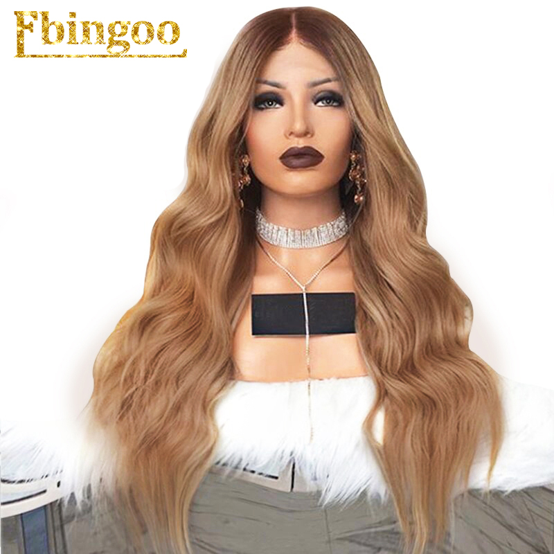 Ebingoo High Temperature Fiber Middle Part Brown Ombre Blonde Natural Long Body Wave Synthetic Lace Front