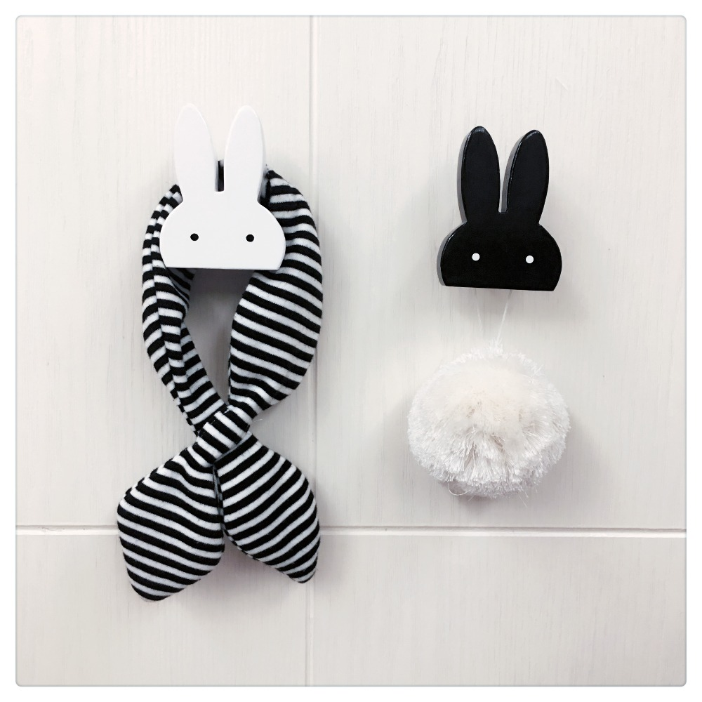 cute bunny wooden clothes hook size 9 7 for kids. Black Bedroom Furniture Sets. Home Design Ideas